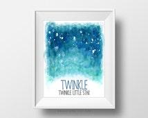 SALE -  Twinkle Twinkle Little Star, Watercolor Galaxy, Handpainted Poster, Sky Stars, Blue Ombre, Earth, Sea Ocean Color, Nursery