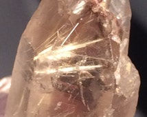 Small Multi-Terminated and Almost Doubly Terminated Smoky Citrine Quartz Crystal with Golden to Yellow Rutile Inclusions