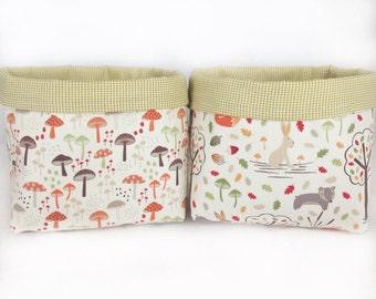 2 large fabric storage baskets, woodland creatures nursery storage bins, nappy caddy, change table storage, toy storage organiser,, gift,