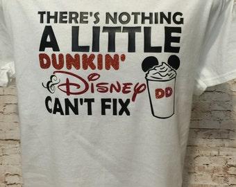 Handmade Custom Disney & Dunkin Donuts inspired shirt with glitter accents.