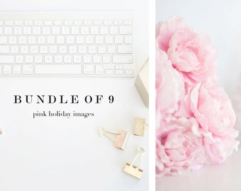 Styled Stock Photography Pink Peony Rose Gold Accents & Holiday Images |  Styled Desk Mockup for Instagram, Blogs + Websites