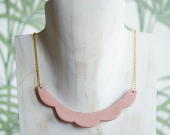 Necklace leather/glitter reversible cloud, pink / copper