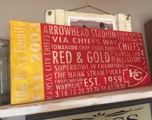 Kansas City Chiefs Subway Style Personalized Distressed Sign