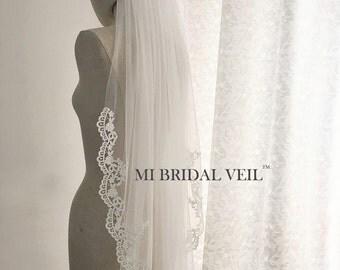 Venice Lace Veil, Crochet Lace Veil, Wedding Veil Fingertip, Mi Bridal Veil, Hand Made
