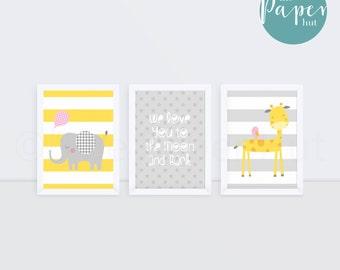 """Girl's Nursery Children's Art Print Yellow  Grey & Pink 5"""" x 7"""" Three Pack   Jungle Safari"""