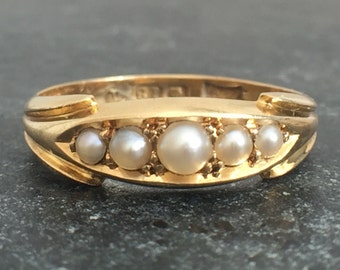 Antique Victorian 18ct Gold Pearl Ring