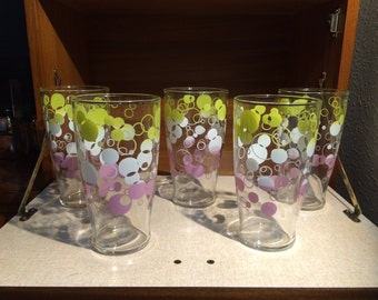 Set of 5 Mid Century Glasses With Bubble Pattern
