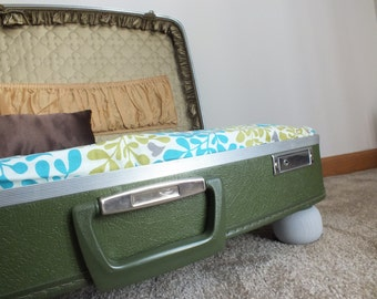 Vintage Suitcase Pet Bed- Leaves of Green