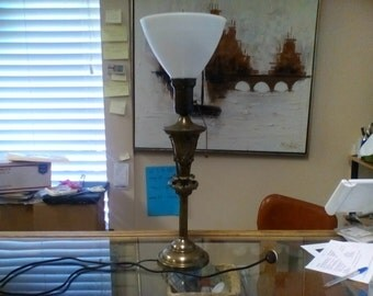 Vintage 1940's Heavy Brass Table Lamp With Milk Glass Shade
