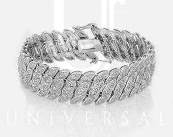 Womens Genuine 2.00 CTW Diamond 14K White Gold Finish Tennis Bracelet