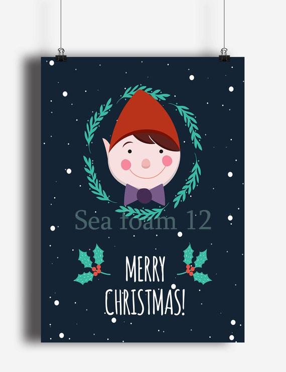 Christmas Card Wall Decor : Merry christmas elf printable wall art by seafoam