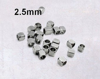 50 x Small Stainless Steel 2.5mm Square Cube Spacer Beads - Solid & Drilled