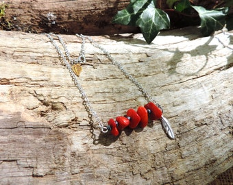Coral Necklace, red, feather, romantic, silver, bohemian, love, romantic