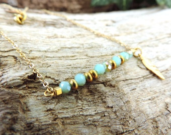 Mint necklace, feather, gold, minimalist, faceted glass beads, romantic