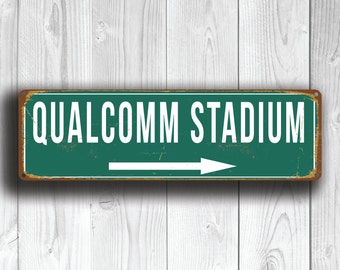 QUALCOMM STADIUM Signs, Vintage style Qualcomm Stadium Sign, Qualcomm Stadium Signs, Chargers, San Diego Chargers, Football Gifts