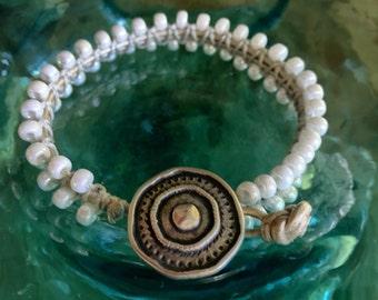 B04 Beaded Bracelet Single Wrap Pearly White Chan Luu Style