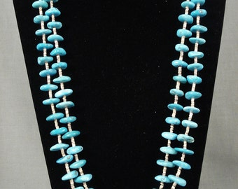 Chunky Vintage Navajo 'Ocean Blue' Necklace Old
