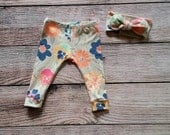Baby/ Toddler Legging Knot Headband Set/ Art Gallery Knit Fabric/ Coral, Pink, Gray Flowers