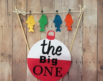 """First birthday fishing cake banner , bunting , """" the big ONE """""""