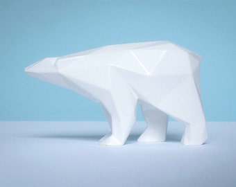 Orso in ceramica poligonale smaltato bianco produzione limitata firmato e numerato