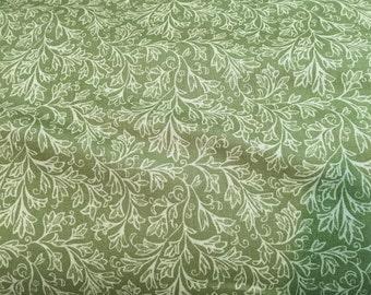 Quilt Backing Fabric-Green Floral Fan- Windham Baum- Medium Green 32680-6