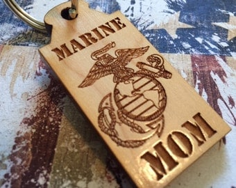 MARINE MOM lasered engraved keychain