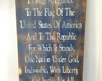 Pledge of Allegiance Wood Sign