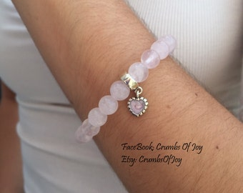 Natural Stone Rose Quartz Beacelets with Sterling Silver Heart Charm