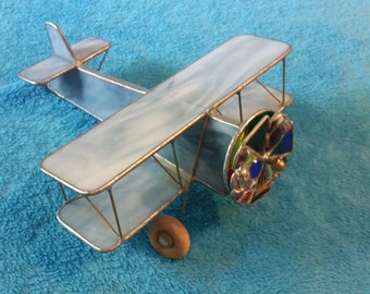 Stained Glass Airplane kaleidoscope, Blue And White , USA, Handmade
