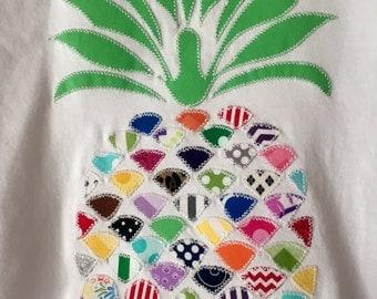 Pineapple multi color fabric applique baseball shirt
