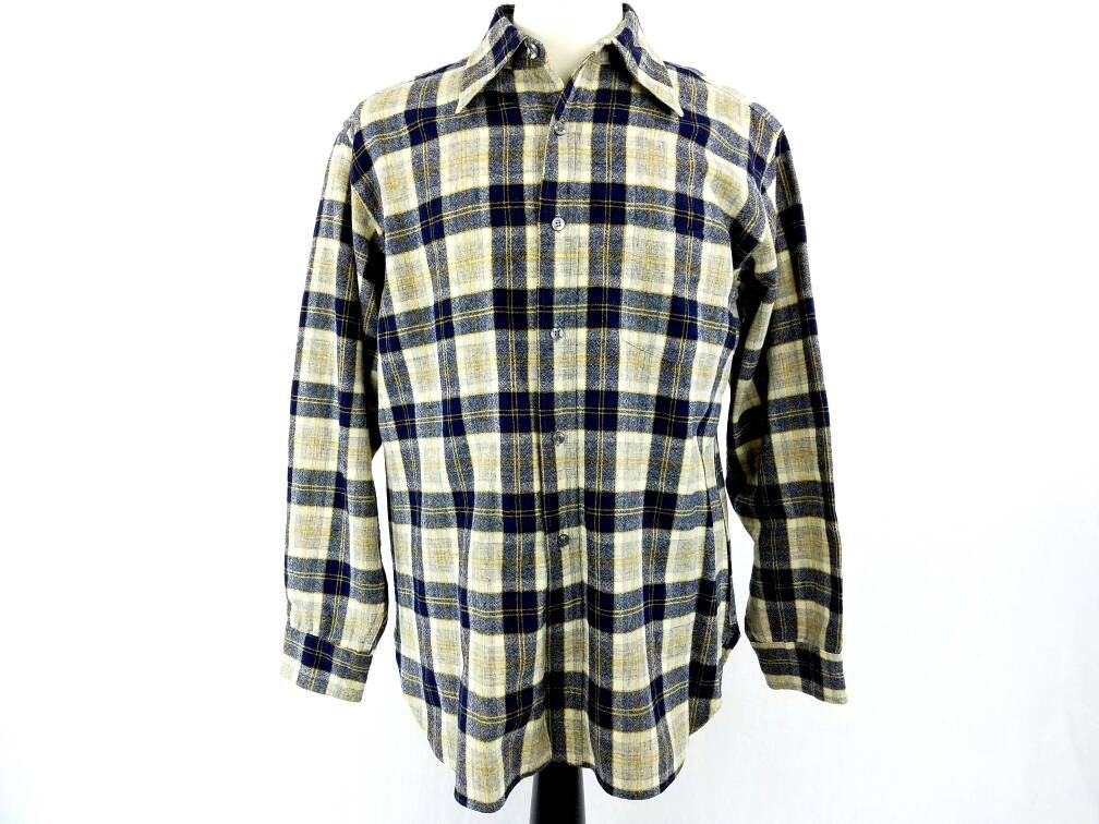 Pendleton Flannel Wool Button Down Shirt Plaid Oxford