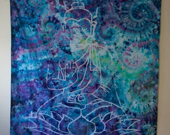 Hand Batiked, Hand Tie Dyed Buddha Tapestry