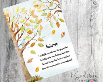 Watercolour Autumn poem with trees and bird, wall art, poster, graphic art illustration print, orange, green, blue bird