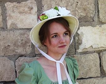 Regency Era Flowered Sun Bonnet