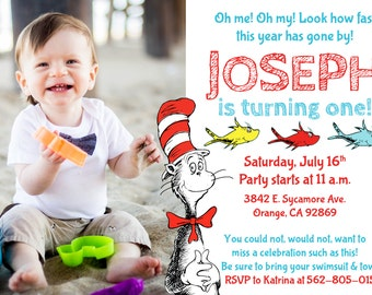 Dr. Seuss Birthday Invite two