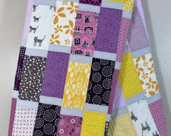 LSU Baby Quilt - LSU Toddler Quilt - Purple and Yellow Quilt