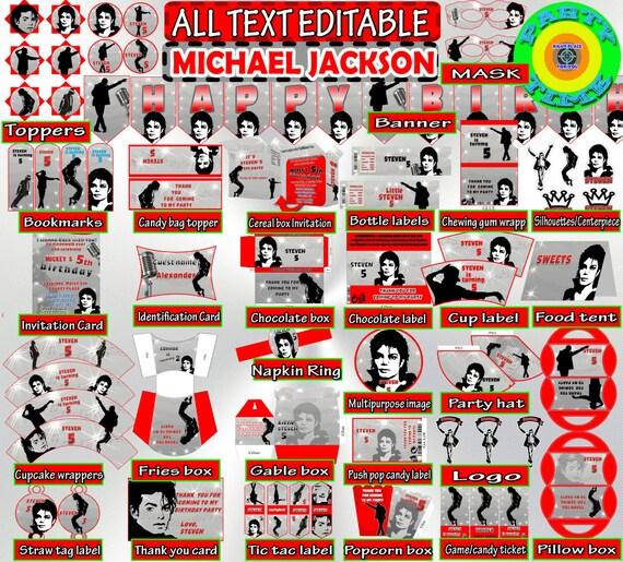Editable Michael Jackson Birthday Set By PartyTimeDigital
