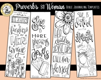 """Soul Inspired - Bible Journaling Template / Color your own bookmarks - """"Proverbs 31 Woman"""" - digital download"""