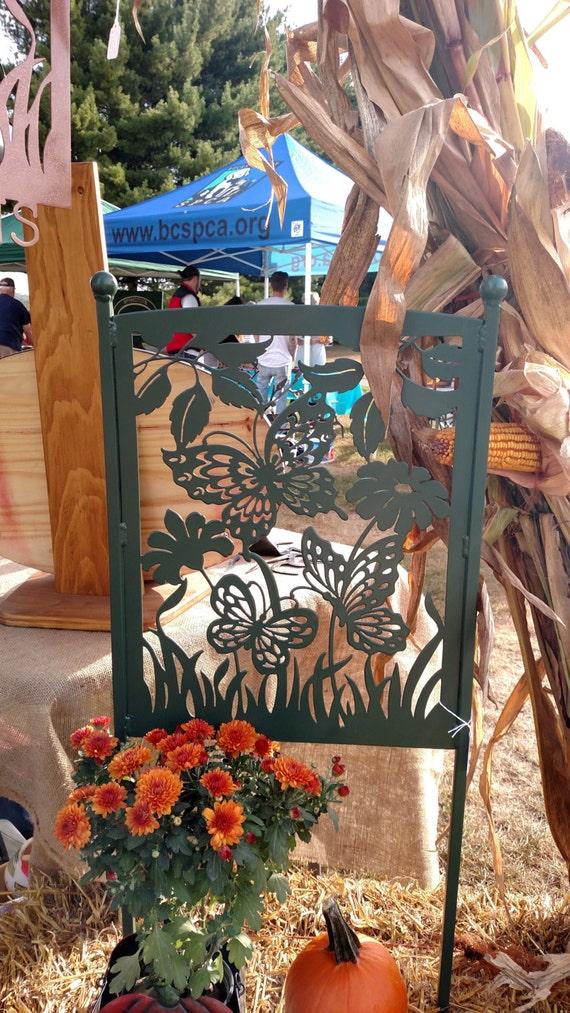 Garden Art, Yard Sign, Garden Decor, Garden Accent, Metal Art, Plasma Cut, Powder Coated, Butterflies, Flowers,Garden Sign, Gardener Gift