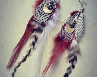 Feather Earrings Tribal Ethnic Native Hippie Bohemian coins Kuchi Banjara