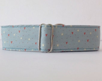 star and hearts in blue, collar martingale, Greyhound Collar, dog collars, strap Blue Dog - 4GUAUS.COM