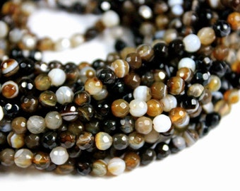4mm Brown Agate Faceted Gemstone Beads - 14inch Full strand - Round Gemstone Beads