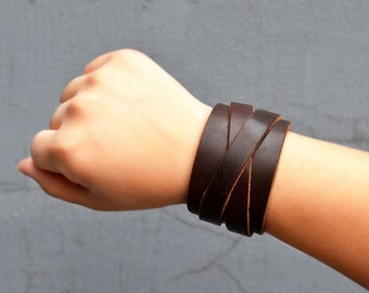Wide Leather Bracelet Cuff Leather Cuff Bracelet Brown Black