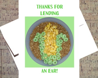 Funny Thank You Card, Funny Gratitude Card, Appreciation Card, Funny Friendship Card, Greeting Card Puns, Cereal, Corn Card, Humor Card