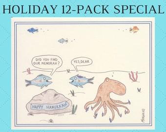 Hanukkah Card Set, Hanukkah Cards, Jewish Cards, Jewish Holiday, Funny Hanukkah Cards, Jewish Card Sets, Set of 12 Holiday Cards, Menorah