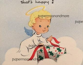 Vintage Christmas Card, Little Angel, 1950s, Unused