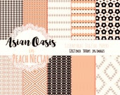 "PEACH FLORAL Digital Paper Pack Commercial Use Background Papers ""Peach Nectar"" Dgital Paper Chevron Argyle Blossoms Geometric Digital Paper"