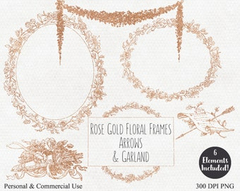 FLORAL WREATH CLIPART Commercial Use Clip Art with Rose Gold Frames Wreaths Garland Arrows Floral Wedding Graphics Rose Gold Flower Clip Art