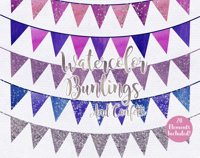 WATERCOLOR PENNANT BANNER Clipart Commercial Use Clipart Flag Bunting Banners Silver Confetti Watercolour Birthday Party Invitation Clip Art