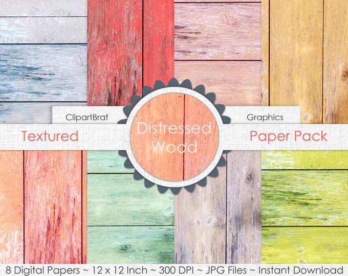 PASTEL WOOD Digital Paper Pack Commercial Use Digital Background Mint, Coral, Pink, Gray Barn Wood Paper Distressed Painted Wood Paper Pack